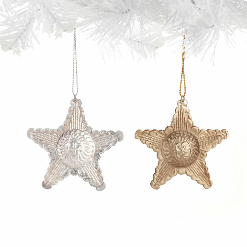 Hammered Metal STAR Ornaments Set of 2 Beautiful Design NEW Christmas New