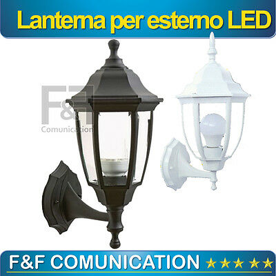 LANTERNA LUCE ESTERNO LED PLAFONIERA APPLIQUE IP55 E27 NERA BIANCA VETRO METALLO