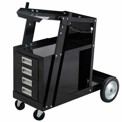 Welding Welder Cart Trolley Heavy Duty Workshop Organizer Welder W4 Drawers New