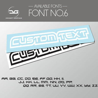 2x Outlined Custom Personalised Text Decal Stickers Name Car Bike Window Vinyl 6