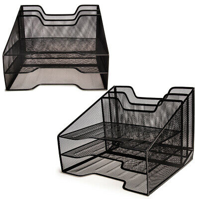 2pk Mesh Desk Organizer 3 Tier File Letter Tray For Home Office Supplies