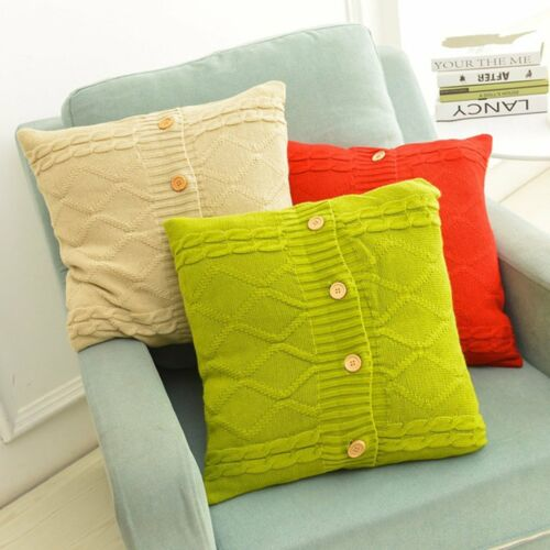 Simple Knitted Cube Button Cushion Covers Home Sofa Car Decor Throw Pillow Case