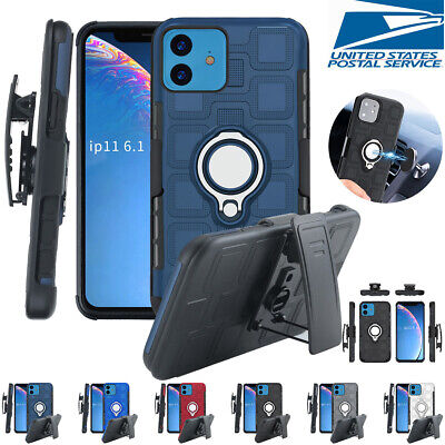 For iPhone 11 Pro XS Max XR 7 8 Plus Armor Magnetic Ring Case Belt Clip Holster Clip Case Plus Magnet