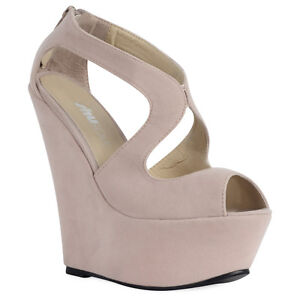 Ladies Shoes Cut Out Platform Peep Toe Strappy High Wedge Heel Size 3-8