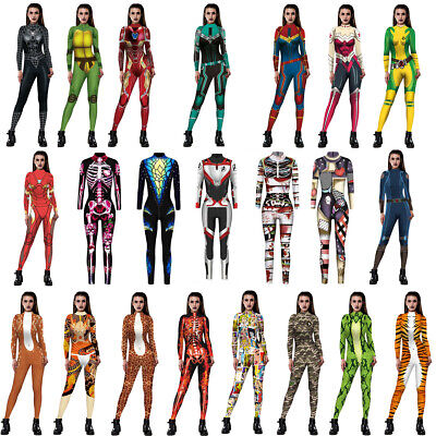 Womens Jumpsuit Bodysuit Bodycon Fancy Dress Halloween Cosplay Costume - Womens Halloween Jumpsuit