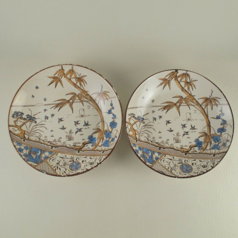 MELBOURNE by GILDEA & WALKER c1885 Aesthetic Pair Hand Colored Transfer Bowls