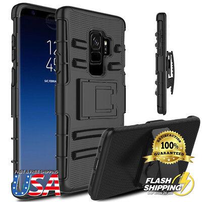- Galaxy S9 Plus Holster Heavy Duty Protective Hybrid Case + Kickstand Belt Clip