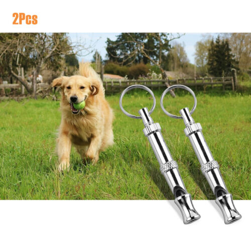 2 x Dog Training Whistle UltraSonic Obedience Stop Barking Pet Puppy Sound Pitch