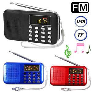 Mini Portable LED Digital FM Radio Speaker USB Micro SD TF Card MP3 Music Player