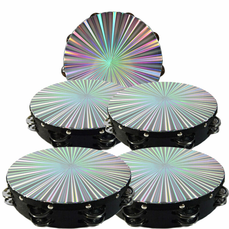 "5- Pack 10"" Tambourine Reflective Laser Pattern Double Row Jingle"