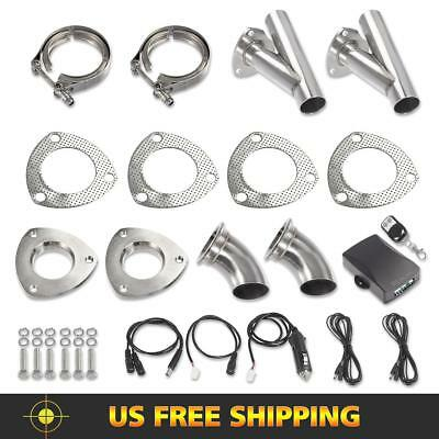 2Set 2 Inch Exhaust System Remote Control Valve Kit w/ Gear Driven Motor+Y-pipe