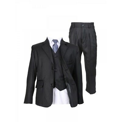 Kids 5 Piece Black Suit Wedding Communion Suits For Boys With A Stripped - Communion Ties For Boys