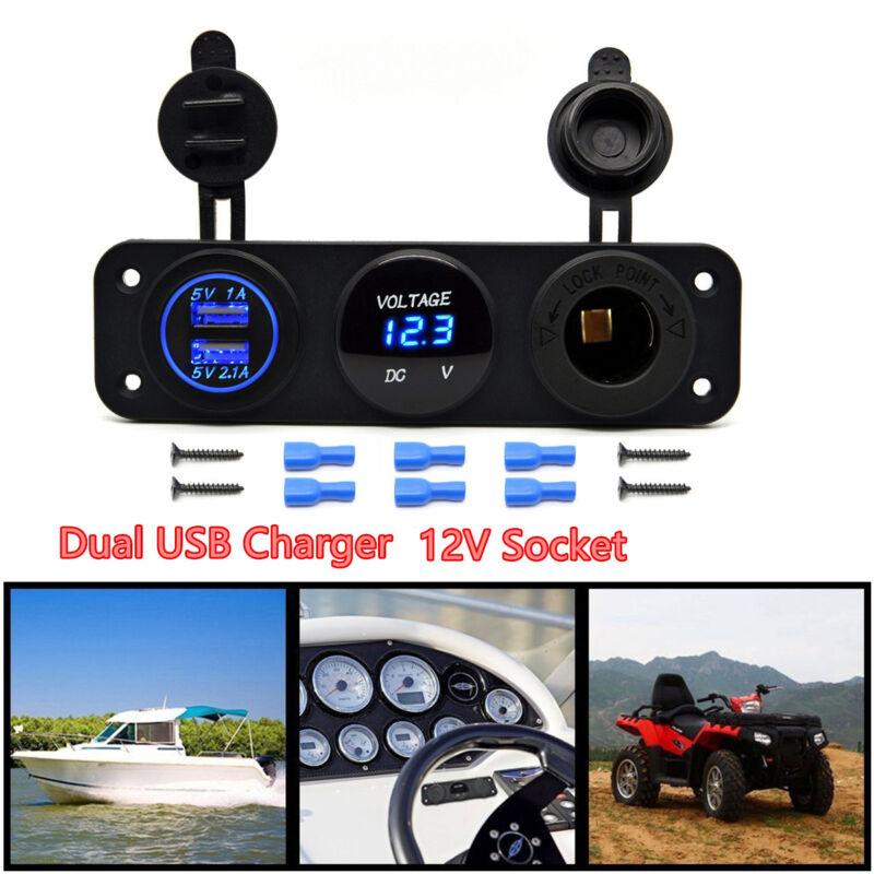 DC12V Car Boat 3 Hole Panel 2 USB Charger+12V Cigarette Lighter Socket+Voltmeter