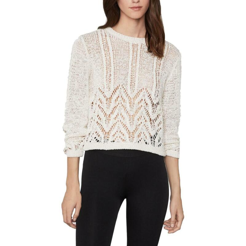 BCBGMAXAZRIA Womens Tape Crochet Crew Neck Crop Pullover Sweater Top BHFO 9213