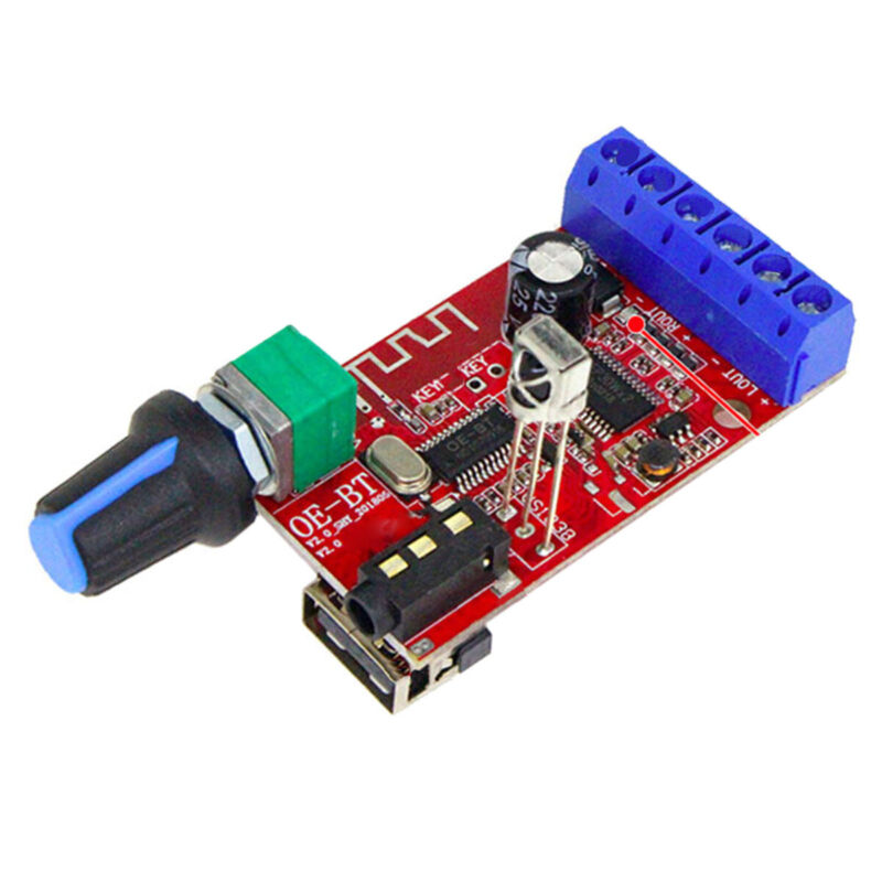 Bluetooth 5.0 Receiver power amplifier board 30WX2 stereo audio AUX 12V 24V CAR
