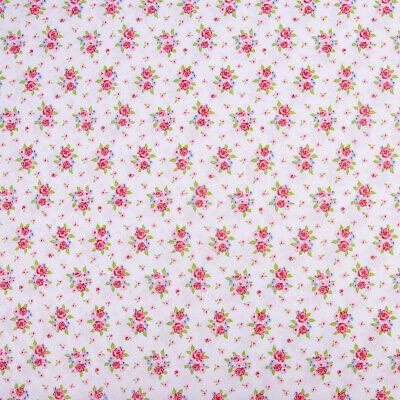 Baumwollstoff DELIGHTFUL ROSES Rosenstrauß Rosen weiß rosa grün 1,50m - Strauß Kostüm Kinder