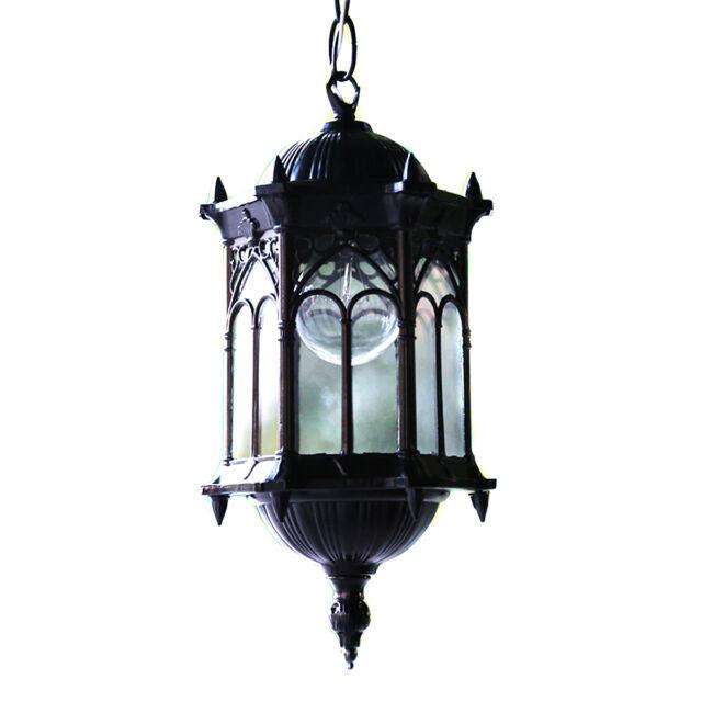 Outdoor Hanging Pendant Exterior Lantern Light Metal Scroll Wall