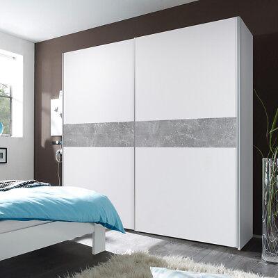 Kleiderschrank Victor 2 Schwebetürenschrank in weiß und Beton 170 cm