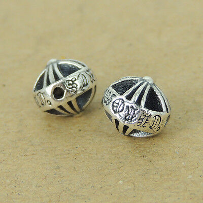4x BRIGHT STERL SILVER FLOWER SPACER BEAD 7.2mm N127
