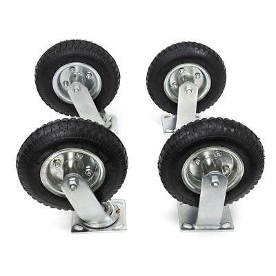 10 4pcs Pneumatic Air Tire Wheels 2 Rigid 2 Swivel Hd Farm Cart Caster Black