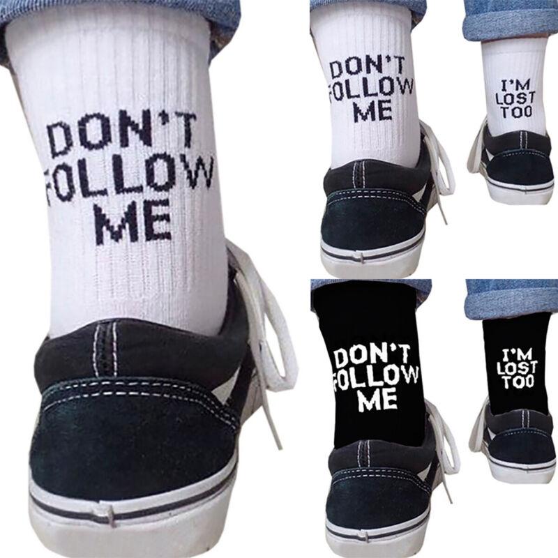 Mens Womens Letter Fuck-Off Funny Sport Soft White Black Skateboard Socks Unisex Clothing, Shoes & Accessories