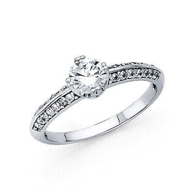 Round Double-Prong Diagonal & Pave Knife-Edge CZ Wedding Ring in 14K White Gold ()
