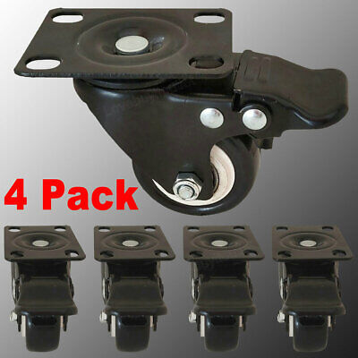 4 Pack 2 Heavy Duty Casters With Brake No Noise Locking Pu Casters