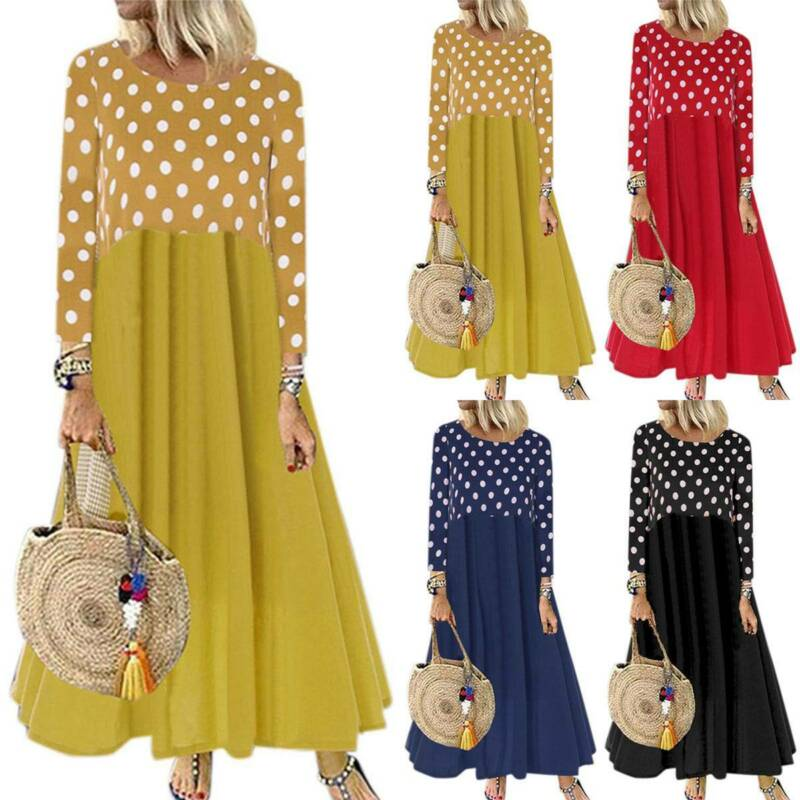 Details about Women\'s Plus Size Polka Dot Dress Long Sleeve Dresses Loose  Patchwork Maxi Dress
