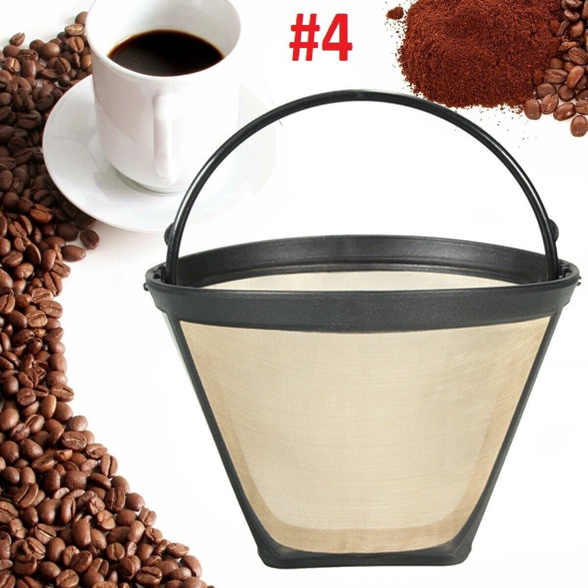Reusable #4 Cone Coffee Filter for Cuisinart Makers Premium Filters Direct