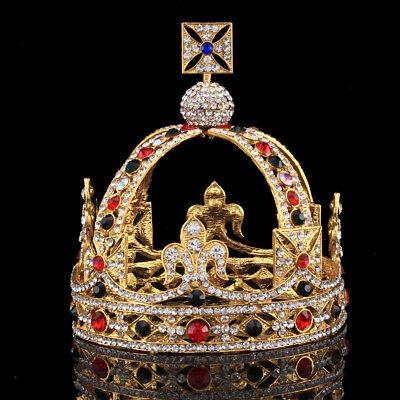 5 Inch High Prom Gold King Crystal Royal Tiaras Headpiece Queen Rhinestone Crown