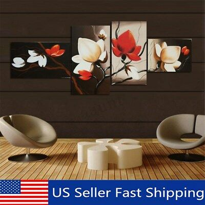 4 Panels Wall Decor Canvas Print Home Art Framed Abstract Flower Painting (Abstract Decorative Art)