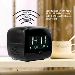Portable FM Radio Digital Bluetooth Speaker Dual Alarm Clock Day/Date Display