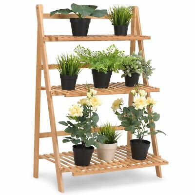 Multifunction 3 Tier Folding Shelf Stand Bamboo Flower Pot Display Rack Bookcase ()