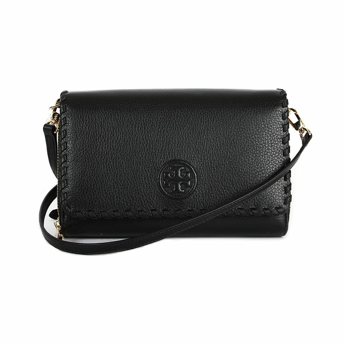 3cc06399776 Tory Burch Black Marion Cross Body Flat Wallet Clutch Purse 40862 ...