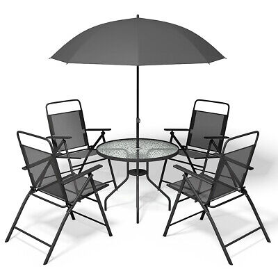 Garden Furniture - 6 PCS Patio Garden Set Furniture 4 Folding Chairs Table with Umbrella Gray New