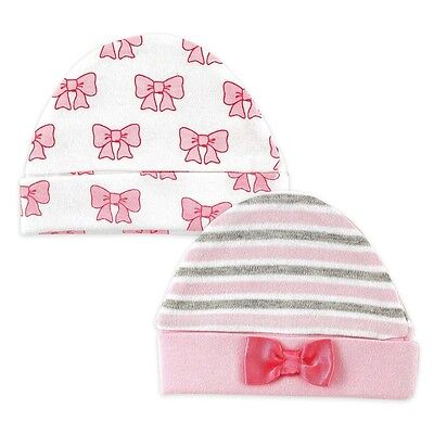 HUDSON BABY 100% Combed Cotton Pink Bows 2 x Baby Girl Quali