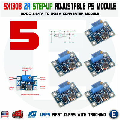 5pcs Sx1308 Step-up 2-24v To 3-28v 2a Dc-dc Boost Adjustable Converter Module