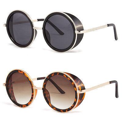 Large Round Shield (Studio Cover Metal Frame Side Shield Round Fashion LARGE Sunglasses Black Retro )