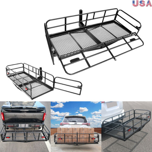 60 x 24 Folding Hitch Mount Cargo Carrier Basket Foldable Hitch Cargo Carrier Mounted Cargo Basket Luggage Rack 2 Receiver