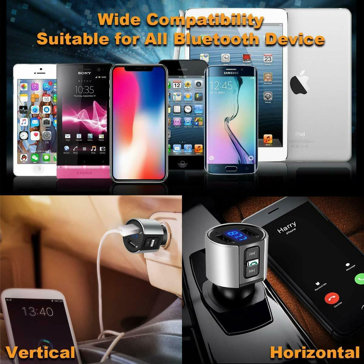 Bluetooth In-Car Wireless FM Transmitter MP3 Radio Adapter Car Kit 2 USB Charger Consumer Electronics