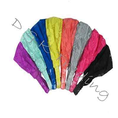 6pcs Flower Wide Lace Net Chiffon Headband W/ Elastic Yoga Workout Headwrap - Chiffon Headwrap
