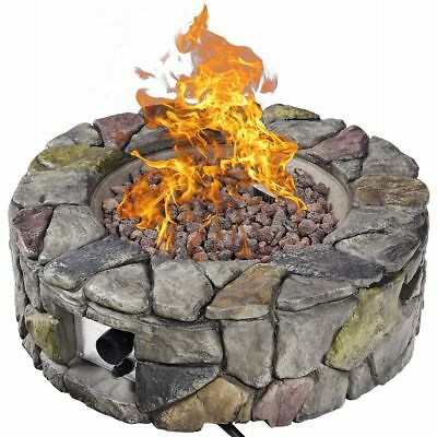 Pit Cover - 28'' Propane Gas Fire Pit Outdoor 40,000 BTUs Stone Finish Lava Rocks Cover