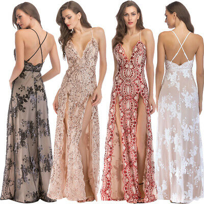 1920s Flapper Dress Great Gatsby Women Sequin Cocktail Party Long Split Dresses](Great Gatsby Clothes For Women)