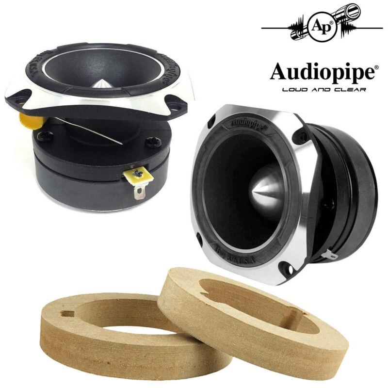 """(2) 1"""" Audiopipe Super Tweeter Heavy Duty Titanium w/ Custom MDF Tweeter Rings"""
