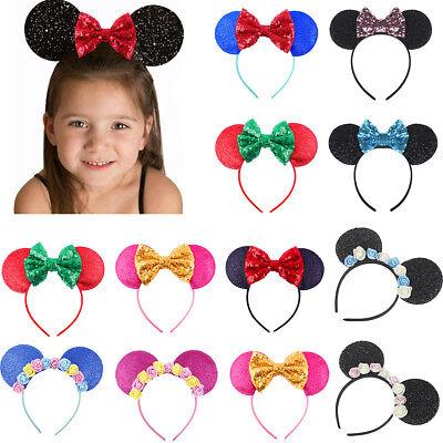 Minnie Mouse Ear Bow Headband Kid Baby Girl Birthday Party Hairband Accessories