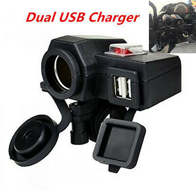 Motorcycle Waterproof 12V GPS Cigarette Lighter 5V 2.1A Dual USB Socket Charger