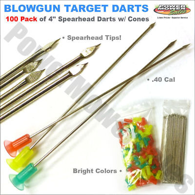 "BLOW GUN DARTS Multicolored Pack 100 Spearhead Ammo 4"" .40 Caliber /SP-100"