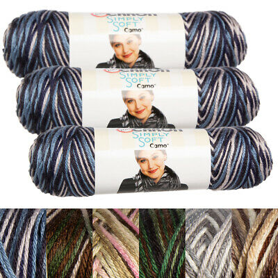 Caron Simply Soft Knitting Yarn - 3pk Caron Simply Soft Camo 100% Acrylic Yarn Medium #4 Knit Crochet Skeins Soft
