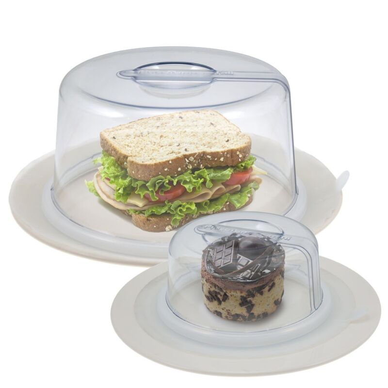 2 PlateTopper (Mini & Tall) Universal Leftover Lid Microwave Cover Airtight