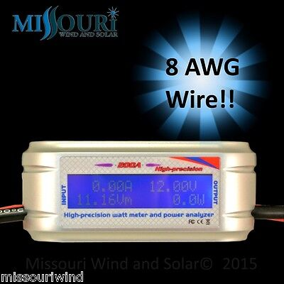 200 Amp Watt Meter WITH SPECIAL HEAVY AWG WIRE for Solar Panels or Wind Turbines
